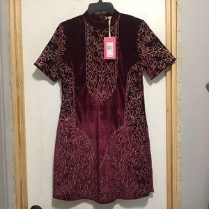 NWT Chelsea & Violet Wine Velvet Embroidered Dress